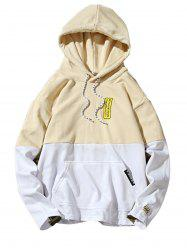 Color Block Embroidered Appliques Pullover Hoodie - Jaunâtre XL