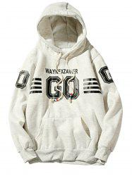 Graphic Stripe Print Fleece Pullover Hoodie - OFF-WHITE 2XL
