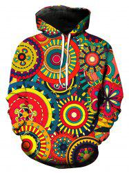 Colorful 3D Wheel Gear Pullover Hoodie - COLORMIX M