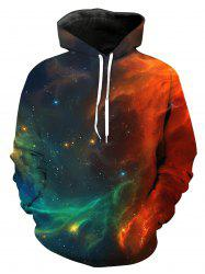 Ombre Galaxy 3D Print Pullover Hoodie - Multicolore XL