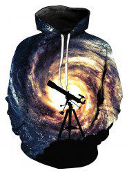 Telescope Galaxy 3D Print Pullover Hoodie - COLORMIX XL