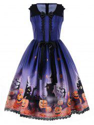 Halloween Bowknot Embellished Swing Dress - BLUE M