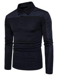 Long Sleeve Polyester Panel Polo T-shirt - BLACK M