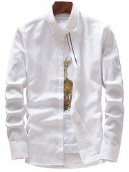 Stripe Embroidery Covered Button Casual Shirt - WHITE 4XL
