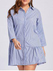 Robe à bout rayé taille taille taille dominante - Bleu 3XL