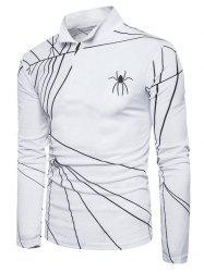 Spider Web Print Long Sleeve Polo T-shirt - WHITE S