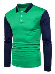 Color Block Long Sleeve Polo T-shirt - GREEN S