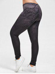 Halloween Plus Size Ombre Branches Print Leggings - DEEP GRAY 4XL