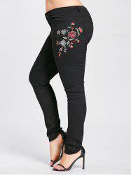 High Waist Plus Size Blossom Embroidered Jeans - BLACK ONE SIZE