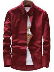 Embroidery Detail Long Sleeve Shirt - WINE RED 3XL