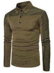 Long Sleeve Polyester Panel Polo T-shirt - ARMY GREEN XL