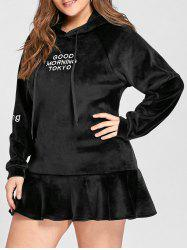 Plus Size Letter Embroidered Velvet Peplum Hoodie - BLACK 5XL