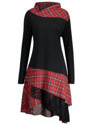 Long Plus Size Lace Plaid Panel Top - Black And Red - 5xl