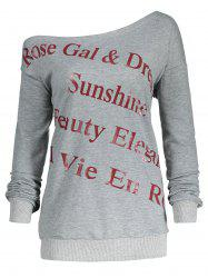 One Shoulder Plus Size Letter Print Sweatshirt - GRAY XL