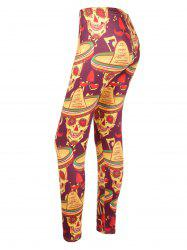 Skull Print High Waisted Halloween Leggings - COLORMIX L
