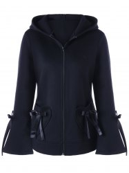 Heart Pockets Lace-up Hooded Zip Up Jacket - BLACK M
