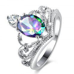 Sparkly Faux Gem Crystal Oval Ring - SILVER 7