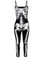 Halloween Skeleton Jumpsuit Costume - BLACK M