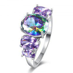 Faux Gem Crystal Oval Sparkly Ring - Argent 8