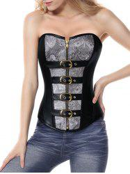 Faux Leather Insert Corset Top - BLACK XL