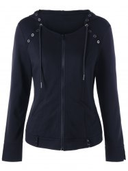 Drawstring Ring Embellished Zip Up Hoodie - BLACK XL