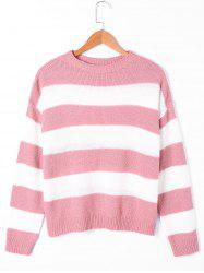 Two Tone Crew Neck Striped Sweater -