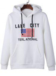 American Flag Graphic Kangaroo Pocket Hoodie - WHITE XL