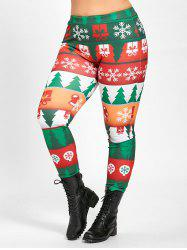 Plus Size Tight  Christmas Tree Printed Pants - GREEN 2XL