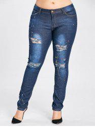 Plus Size Splash High Waisted Ripped Jeans - CERULEAN 3XL