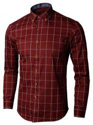 Button Down Collar Checked Shirt - WINE RED 5XL