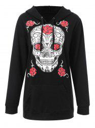 Plus Size Halloween Floral Skull Graphic Hoodie - BLACK 4XL