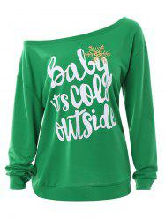 Plus Size Baby Its Cold Outside Letter Christmas Sweatshirt - GREEN 2XL