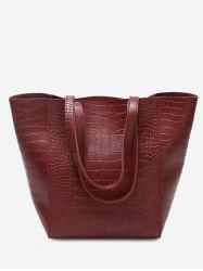 Embossed Pattern Faux Leather Shoulder Bag -