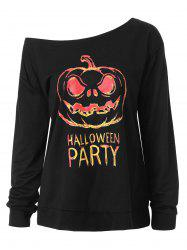 Skew Neck Plus Size Happy Halloween Sweatshirt - BLACK 4XL