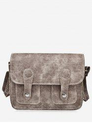 PU Leather Stitching Buckle Straps Crossbody Bag - BROWN