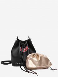 PU Leather Drawstring Letter Crossbody Bag Set -