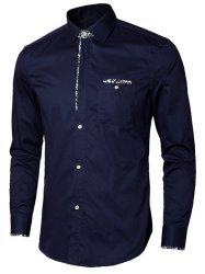 Long Sleeve Floral Detail Pocket Shirt - PURPLISH BLUE 3XL