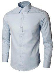 Plain Long Sleeve Business Shirt - LIGHT BLUE L