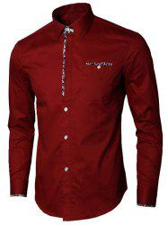 Long Sleeve Floral Detail Pocket Shirt - WINE RED 2XL
