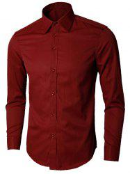 Plain Long Sleeve Business Shirt - WINE RED 5XL