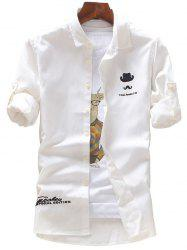 Roll Tab Sleeve Hat Moustache Embroidery Shirt - WHITE XL