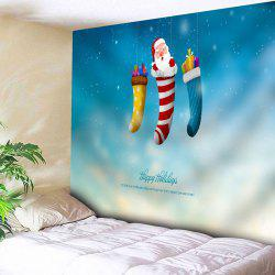 Santa Claus Christmas Socks Wall Tapestry - BLUE W79 INCH * L59 INCH