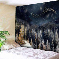 Merry Christmas Tree Wall Decor Tapestry - BLACK BLUE W91 INCH * L71 INCH