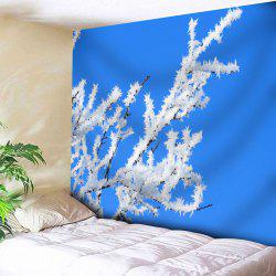 Snow Tree Branch Printed Wall Tapestry - BLUE W91 INCH * L71 INCH