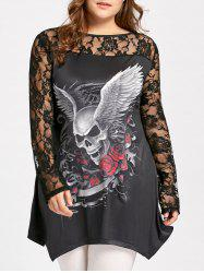 Plus Size Evil Wings Skull Halloween T-shirt - BLACK 2XL