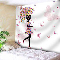 Butterfly Flower Beautiful Girl Wall Tapestry - WHITE W91 INCH * L71 INCH