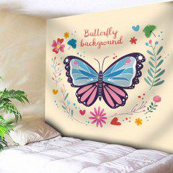 Floral Butterfly Wall Art Tapestry - PALOMINO W91 INCH * L71 INCH