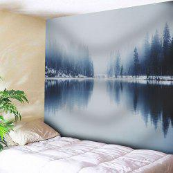 Wall Hanging Landscape Print Tapestry - GRAY W91 INCH * L71 INCH