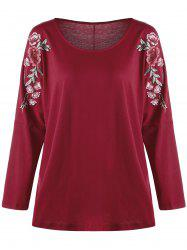 Plus Size Embroidered Split Sleeve Top -