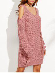 Cold Shoulder Ripped Sweater Dress - PINK M
